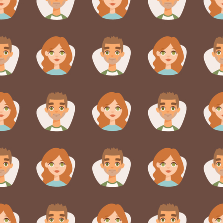 european community: Seamless pattern avatars with facial features nationalities people characters vector illustration
