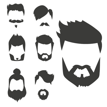 hair mask: Vector set of hipster retro hair style mustache vintage old shave male facial beard haircut isolated illustration