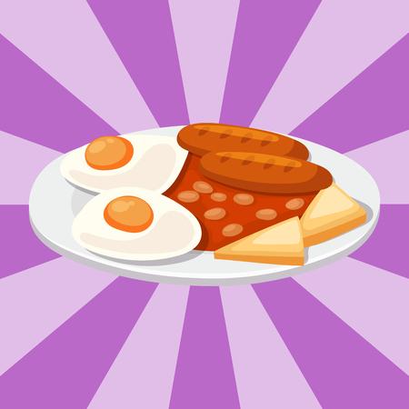 Rook gedroogde worstjes met ketchup gerecht vlees diner keuken heerlijke lunch varkensvlees maaltijd barbecue vectorillustratie. Geroosterde gastronomische het diner verse maaltijd van het voedings kokende diner.