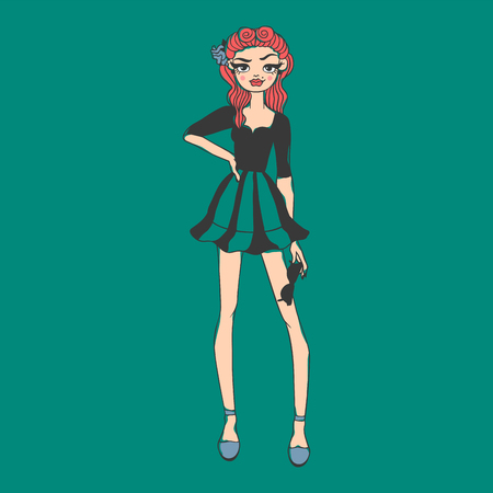 Fashion look girl beautiful girl woman female pretty young model style lady character vector illustration Illustration