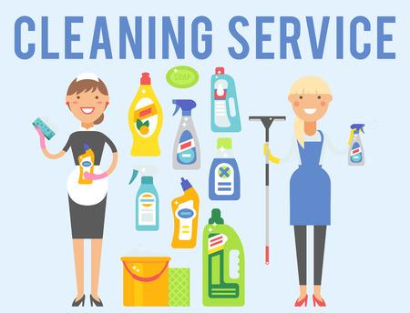 Reiniger Frau chemische Hausarbeit Produkt Pflege waschen Ausrüstung Reinigung Flüssigkeit flache Vektor-Illustration. Standard-Bild - 81142884