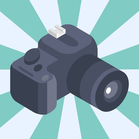 Photo camera isometric vector reflection movie instrument objective equipment photography professional look illustration. Illustration