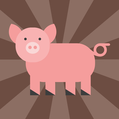 Cute pig cartoon animal pink agriculture farm mammal domestic piglet character vector illustration
