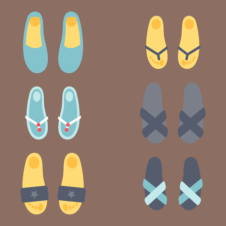 Schuh-Pantoffelschönheit des Flip-Flops des grafischen Strandes der Illustration entspannen sich beiläufige Schuhkleidung. Standard-Bild - 81184092
