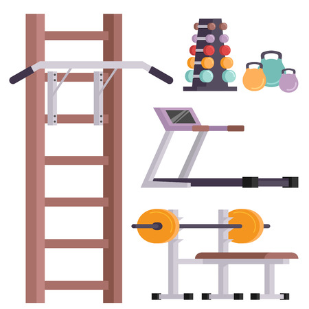 Fitness gym club vector icons. Athlet and sport activity body tools. Wellness dumbbell silhouette track gymnastics active health lifestyle equipment.