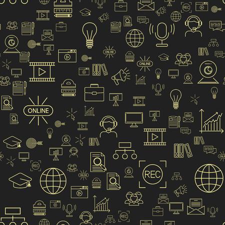 온라인 교육 원활한 패턴 직원 교육 도서 저장소 먼 학습 지식 벡터 일러스트 레이션