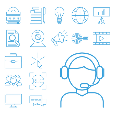 Outline flat design icons for online education video tutorials staff training book store learning research knowledge vector illustration. Internet technology distance profession service web concept.