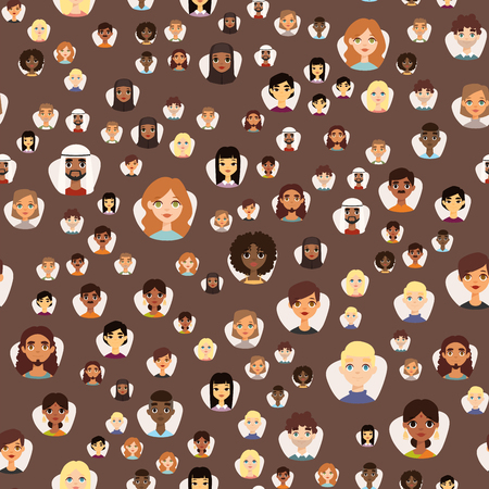 Seamless pattern diverse round avatars with facial features different nationalities, clothes and hairstyles people characters vector illustration. Cute cartoon style faces man and woman.