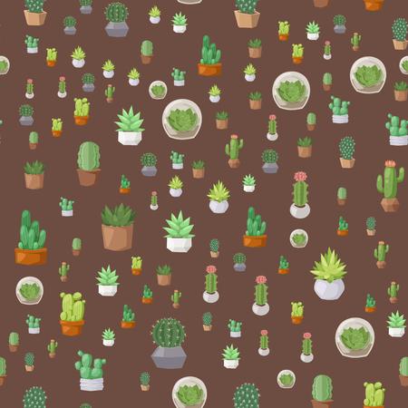 선인장, 스타일, 자연, 사막, 꽃, 멕시코, 즙이 많은, 원활한, 패턴, 열대, 공장, 정원, 예술, 선인장, 꽃, 벡터 일러스트 레이 션. 냄비에 스타일 의욕적