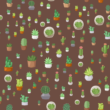 Cactus flat style nature desert flower green graphic mexican succulent seamless pattern tropical plant garden art cacti floral vector illustration. Style prickly botanical houseplant in pot.