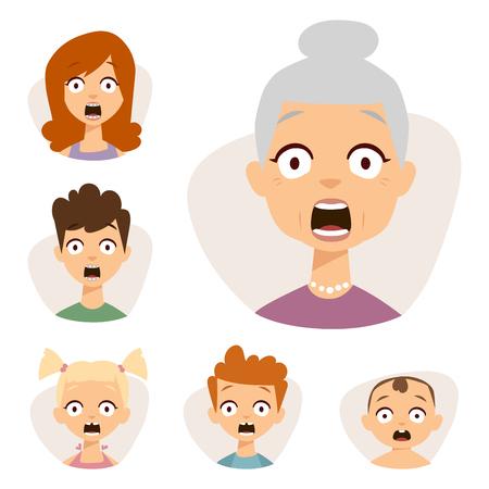 Vector set mooie emoticons gezicht van mensen vrezen schok verrassing avatars. Set van cartoon menselijk hoofd persoon karakter verschillende seksen verdriet verward depressie. Stockfoto - 82945580