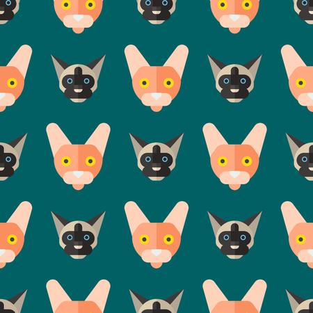 猫ベクトル イラストかわいい動物シームレス パターンおかしい装飾キティ文字猫国内流行ペット子猫