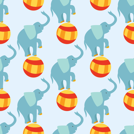 Circus funny performance elephant animal vector seamless pattern cheerful zoo entertainment juggler magician performer carnival illustration.