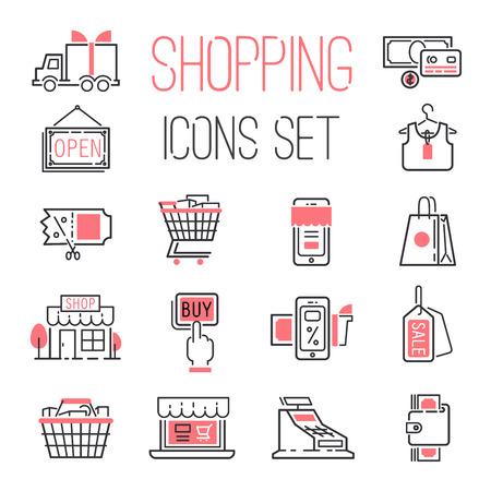 gift basket: Shopping retail business internet market outline vector icons illustration.