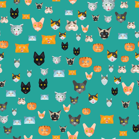 Cats vector illustration cute animal funny decorative characters color abstract feline domestic trendy pet drawn. Happy mammal fur adorable breed kitten seamless pattern.