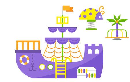 어린이 놀이터 재미 어린 시절 놀이 공원 활동 평면 스윙 벡터 일러스트 레이 션. 행복한 야외 여름 장소 레크 리 에이션 장비 장난감 유치원 오락.