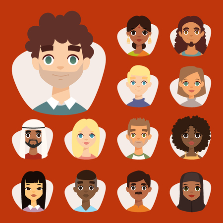 Set of diverse round avatars with facial features different nationalities, clothes and hairstyles people characters vector illustration. Cute cartoon style faces man and woman. Ilustrace