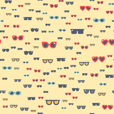 eyewear: Fashion sunglasses design retro accessory sun optical view object and spectacles vintage plastic frame modern eyeglasses vector illustration. Summer sight shape classic reflection seamless pattern Illustration