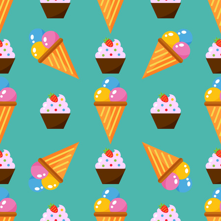 Little delicious cupcakes sweet dessert seamless pattern birthday party food cream sprinkles frosting snack vector illustration