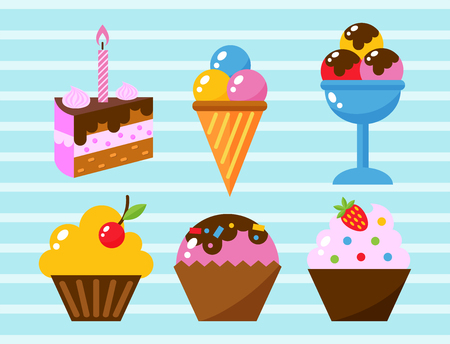 Little delicious cupcakes sweet dessert celebration birthday party food cream sprinkles frosting snack vector illustration
