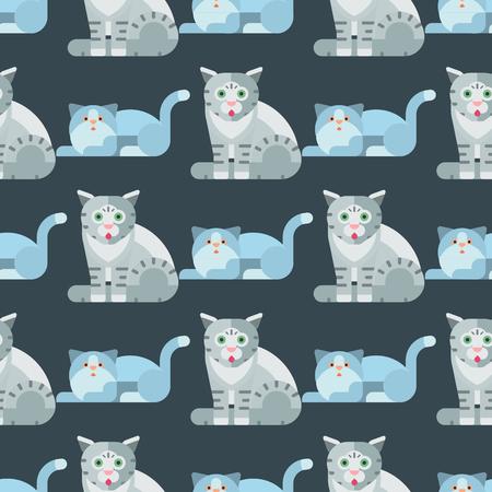 Van het patroon leuke dierlijke naadloze patroon van de katten vector illustratie grappige decoratieve katachtige katachtige binnenlandse het huisdierenkatje Stock Illustratie