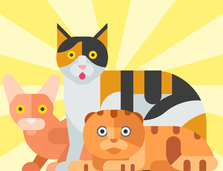 Katten vector illustratie schattige dieren grappige decoratieve kit karakters katachtige binnenlandse kitten trendy huisdier getrokken