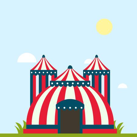서커스 쇼 엔터테인먼트 텐트 줄무늬 천막 야외 축제 줄무늬와 플래그 격리 카니발 징후