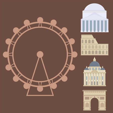 유로 여행 관광 여행 디자인 유명한 건물 및 유로 모험 국제 벡터 일러스트 레이 션. 일러스트