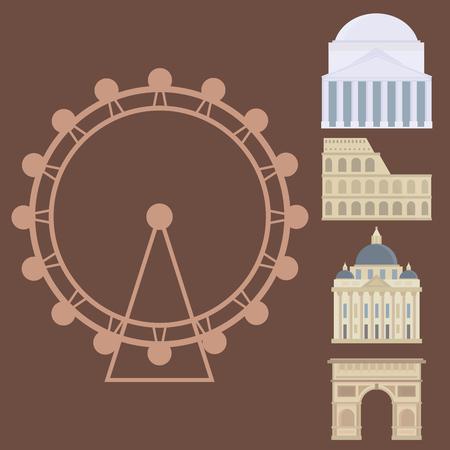 roman column: Euro trip tourism travel design famous building and euro adventure international vector illustration.