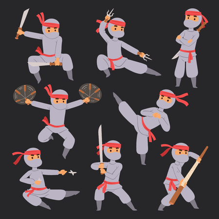 Different poses of ninja fighter in cloth character warrior japanese man cartoon person vector man