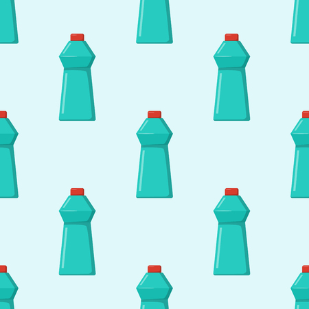 Bottles of household chemicals supplies cleaning housework plastic seamless pattern liquid domestic fluid cleaner pack vector illustration.