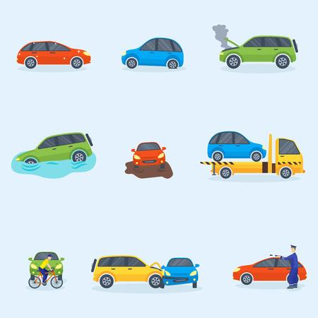車衝突衝突交通保険安全自動車緊急災害や緊急修理輸送ベクトル イラスト。  イラスト・ベクター素材