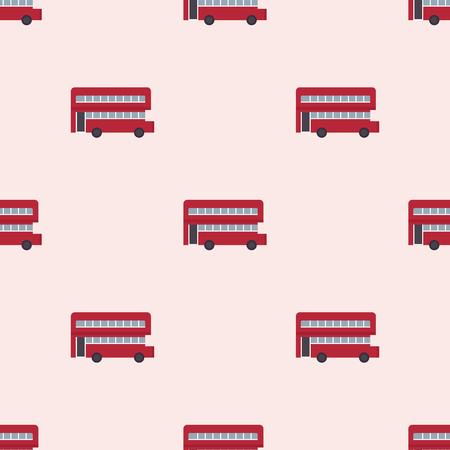 Euro trip tourism travel design double decker bus seamless pattern london transport vector illustration.
