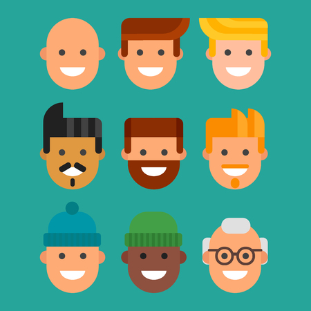 Men head portrait different nationality friendship character team happy people young guy person vector illustration.