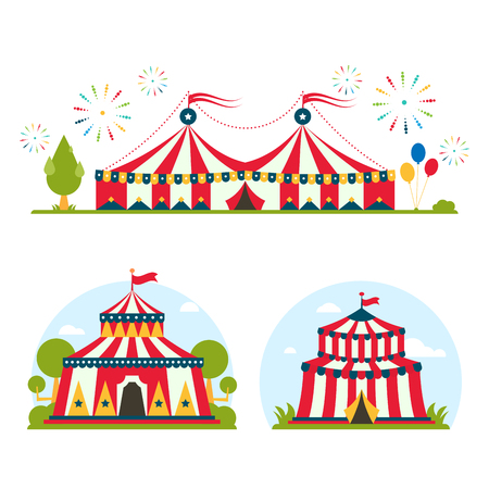 Circus show entertainment tent marquee marquee outdoor festival with stripes and flags isolated carnival signs