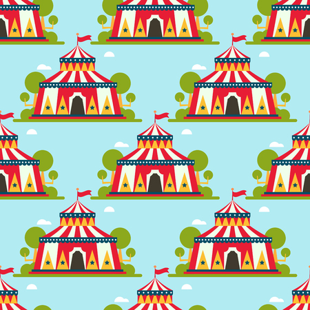 Circus show entertainment tent marquee marquee outdoor festival with stripes and flags carnival seamless pattern. Illustration