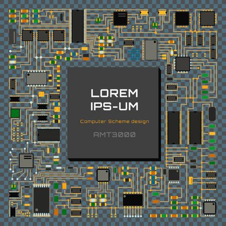 Computer chip technology processor circuit motherboard information system vector illustration Illustration