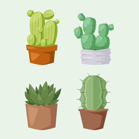 自然砂漠の花緑メキシコ ジューシーな熱帯植物サボテンの花サボテンはベクトル イラストです。  イラスト・ベクター素材
