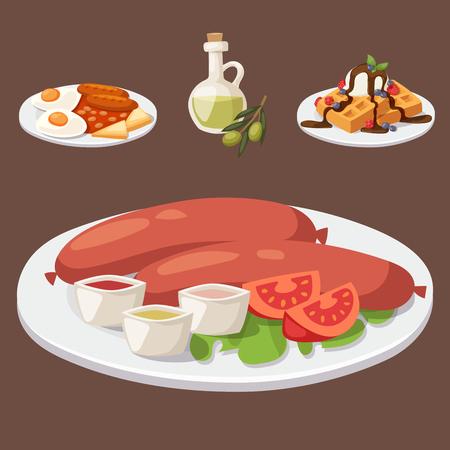 European tasty food cuisine dinner food showing delicious elements flat vector illustration. Stock fotó - 83187048