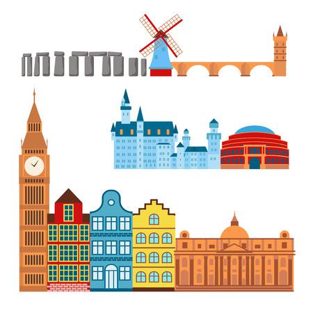 Euro trip tourism travel design famous building and euro adventure international vector illustration. Stock Vector - 83138916
