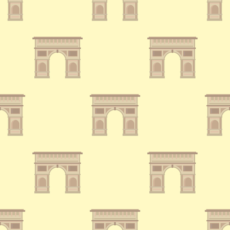 Triumphal arch architecture travel europe history old famous place seamless pattern france monument vector. Illustration