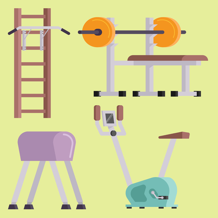 Fitness gym club vector icons athlet and sport activity body tools wellness dumbbell equipment Illustration