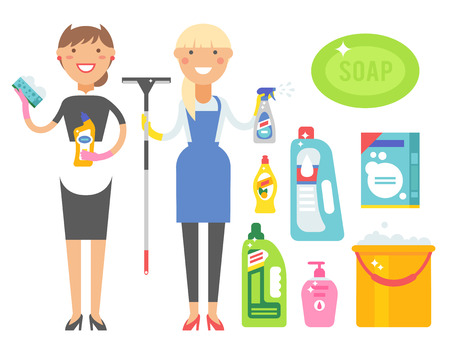 Cleanser woman chemical housework product care wash equipment cleaning liquid flat vector illustration.