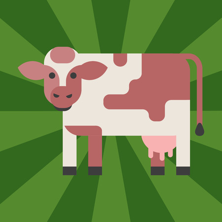 Cow farm animal character vector illustration. Cattle mammal nature wild beef agriculture. Domestic funny rural bovine horned cartoon buffalo. Ilustrace