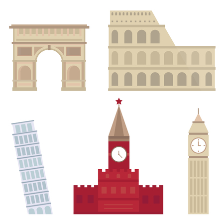 Euro trip tourism travel design famous building and euro adventure international vector illustration. Фото со стока - 83217955