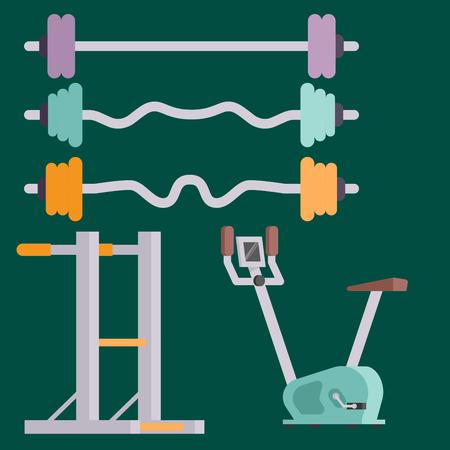 Fitness club de gimnasio vector iconos athlet y el deporte de la actividad del cuerpo herramientas wellness dumbbell equipo Foto de archivo - 83218004
