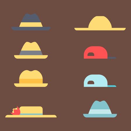 Summer panama hats straw fashion head sun protection traditional headgear accessory vector illustration.