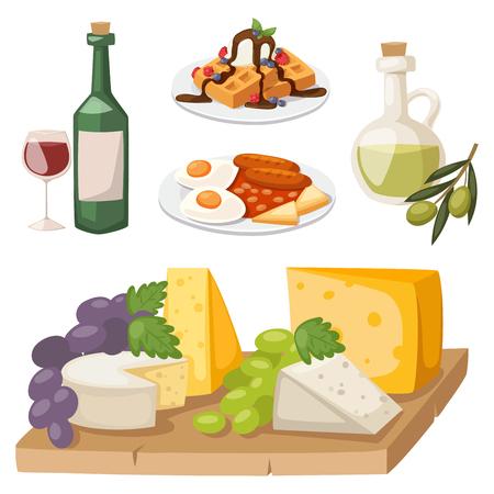 European tasty food cuisine dinner food showing delicious elements flat vector illustration.
