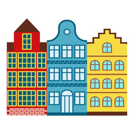 암스테르담 집 관광 여행 디자인 유명한 건물 유로 모험 국제 벡터 일러스트 레이 션.