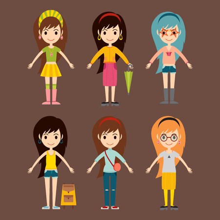 Street fashion girls models wear style fashionable stylish woman characters clothes looks vector illustration. Attractive pretty elegance posing person. Illustration